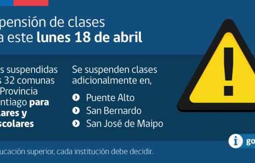 Gobierno anuncia suspensión de clases para el dìa Lunes 18 de Abril por inundaciones