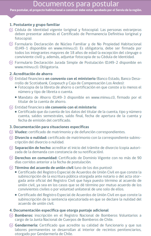 Documentos Postulación Presencial Subsidio ds49 2018